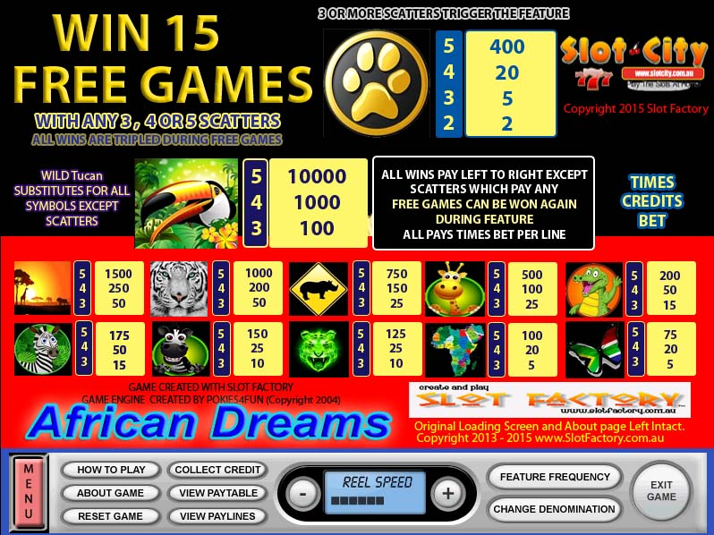 African Dreams Paytable