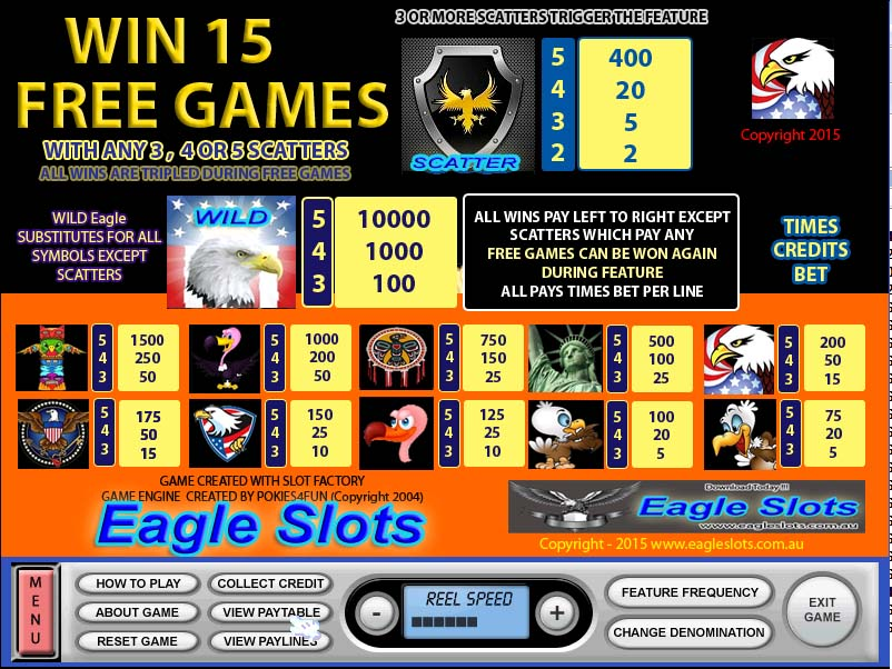 Eagle Slots Paytable