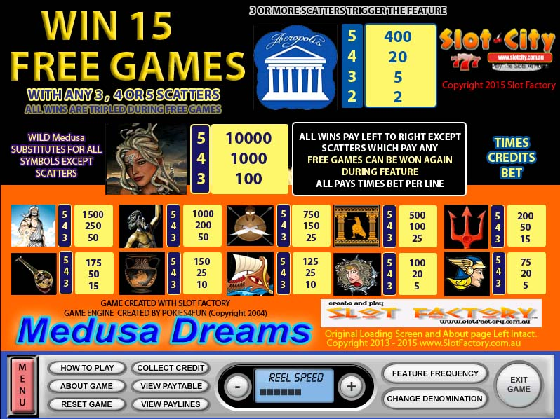 Medusa Dreams Paytable