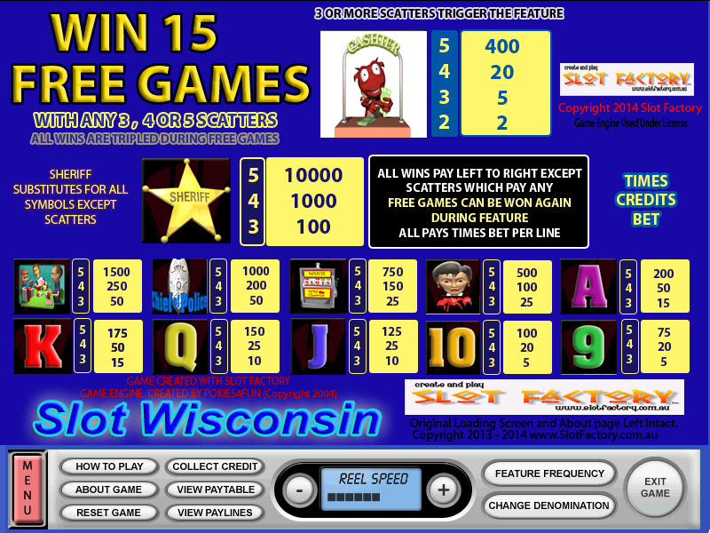 Slot Wisconsin Paytable