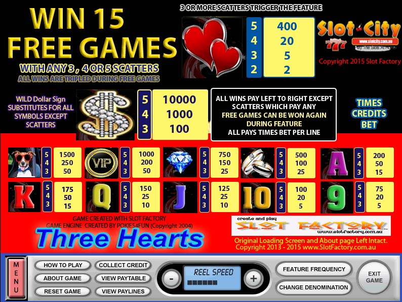 Three Hearts Paytable